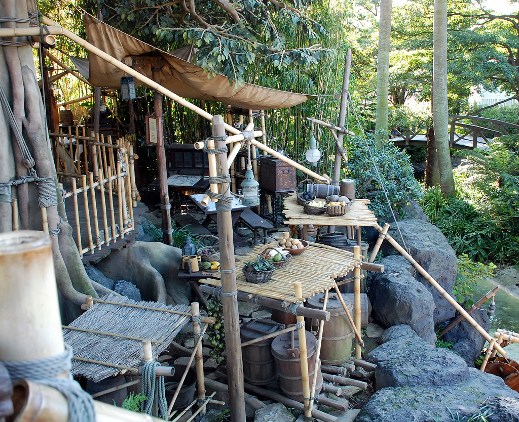 A rough kitchen created out of materials on a deserted island